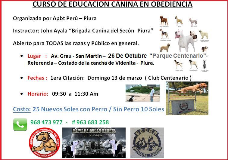 Piura? : Curso de Educación Canina en Obediencia
